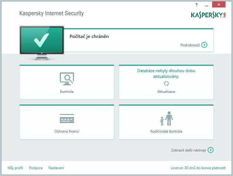 Kaspersky Internet Security Multi-Device: výchozí obrazovka