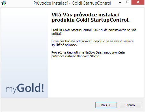 Gold! StartupControl: instalace v češtině