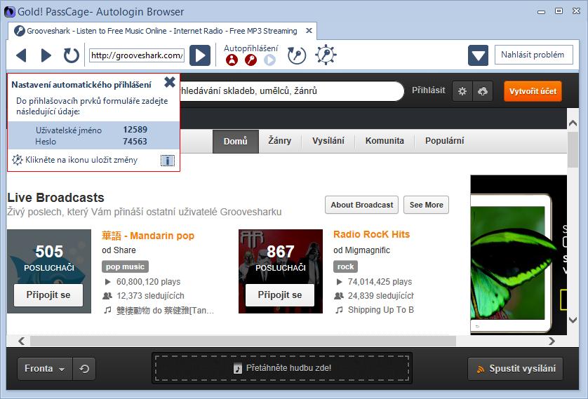 Gold! PassCage: Autologin Browser pro nastavení automatického přihlášení