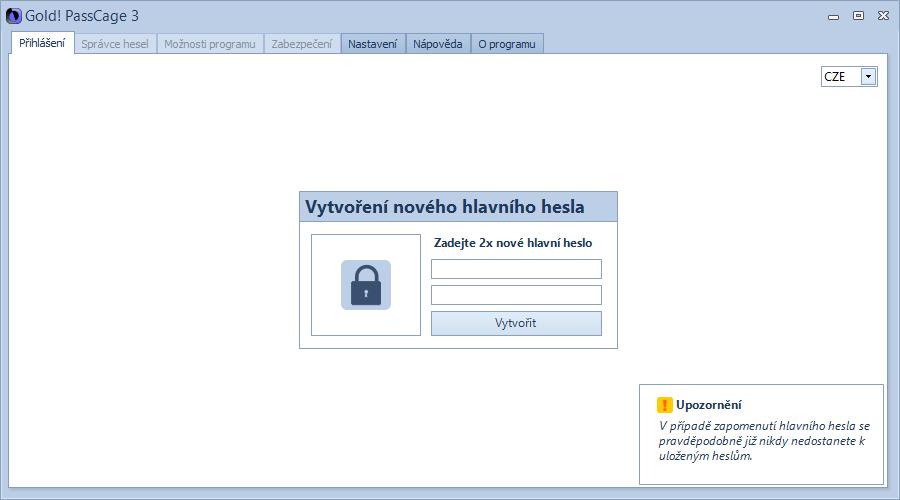Gold! PassCage: výchozí okno a vytvoření hlavního hesla