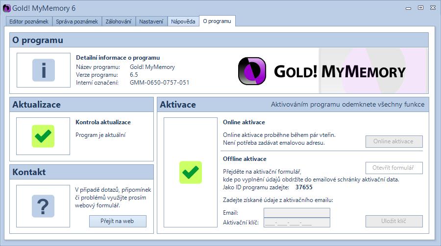 Gold! MyMemory: všechny funkce získáme aktivací v sekci O programu