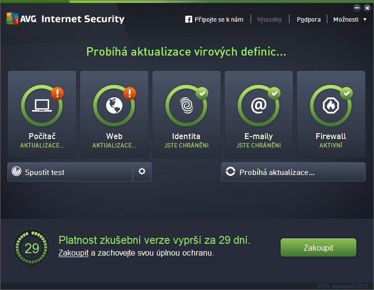 AVG Internet Security: přivítací obrazovka