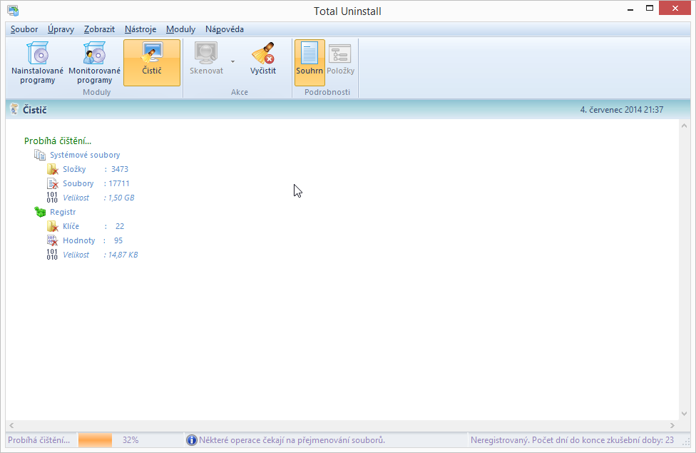 Total Uninstall: čistič registrů a systémových souborů