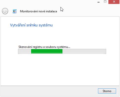 Vytváření snímku systému před instalací monitorovaného programu