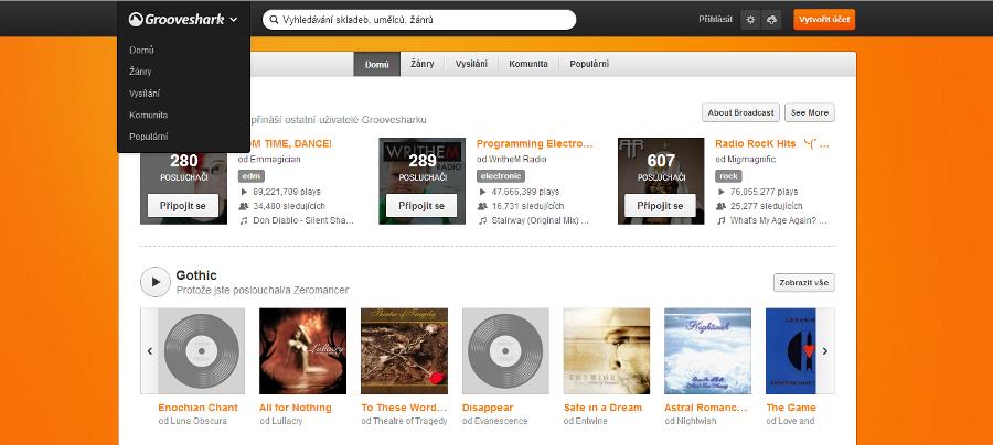 Grooveshark česky hrající i komunikující