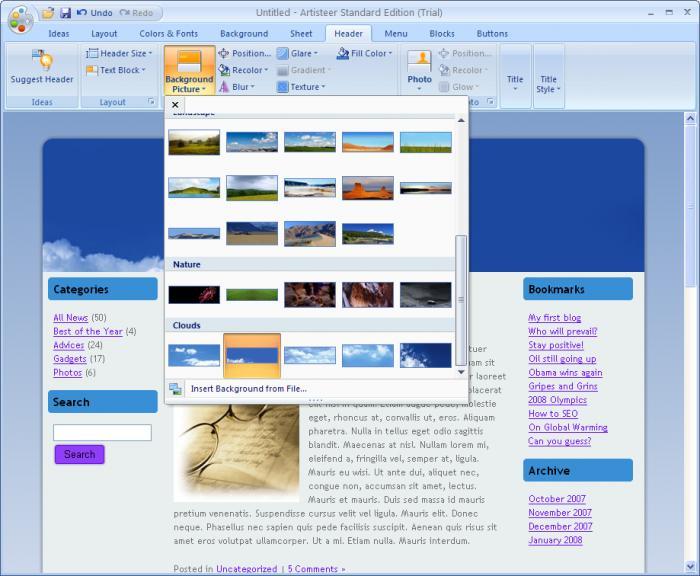 Artisteer - tvoříme šablony webových stránek a blogů