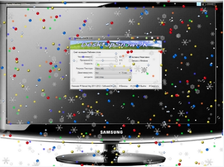 DesktopSnowOK - padání listí nebo sněhových vloček při práci na vašem počítači
