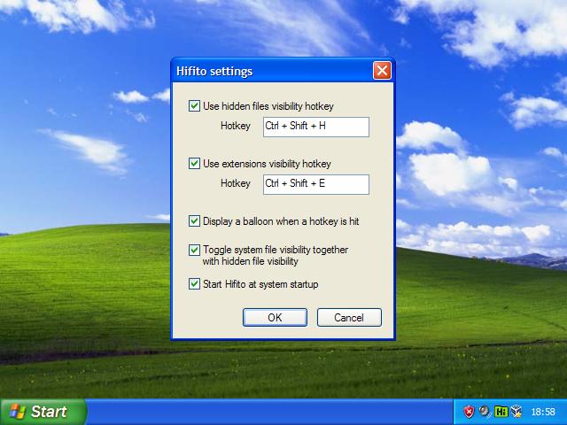 Hifito - skrytí nebo zobrazení skrytých souborů a rozšíření pomocí klávesové zkratky
