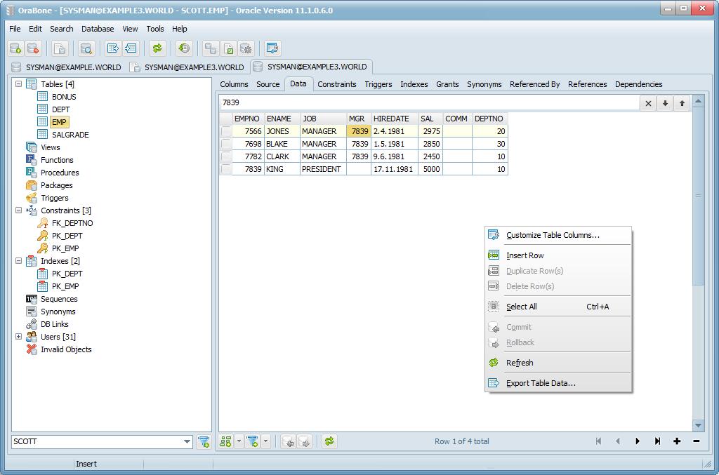 OraBone - správa databáze Oracle