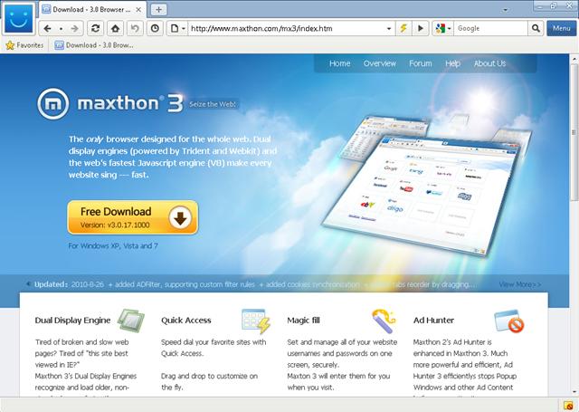 Maxthon - velmi oblíbený internetový prohlížeč