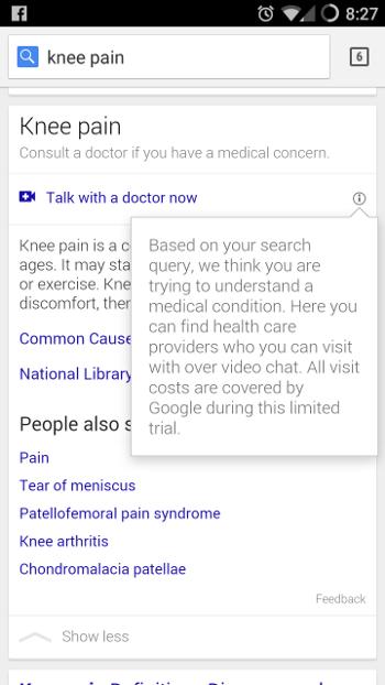 Videokonzultace s lékařem jako součást výsledku vyhledávání na Googlu