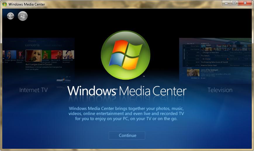 Windows Media Center znefunkční Technical Preview Desítek