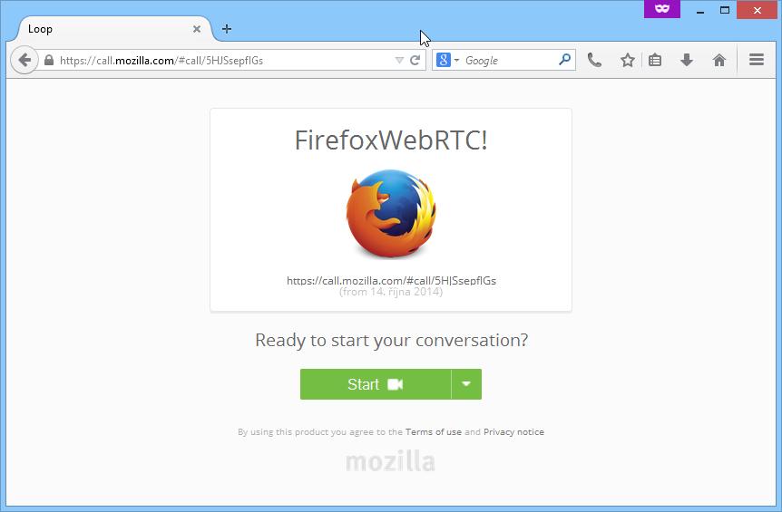 Okno prohlížeče protistrany po vložení nasdíleného linku