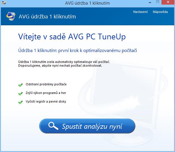 AVG PC TuneUp: Údržba 1 kliknutím