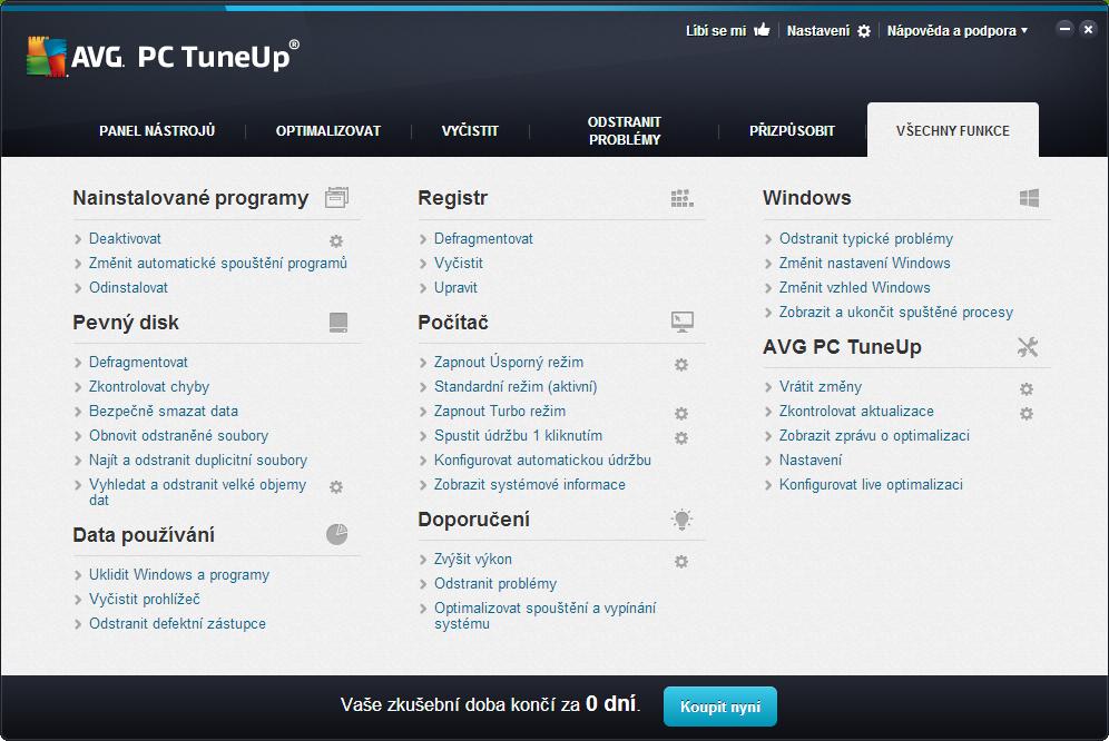 AVG PC TuneUp: přehled všech utilitek programu