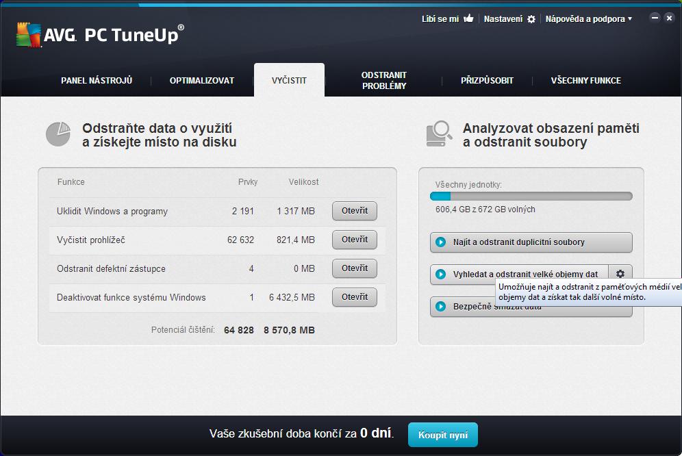 AVG PC TuneUp: volby Vyčistit a speciální nástroje