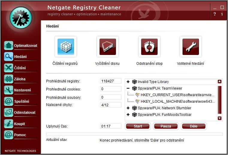 Netgate Registry Cleaner: hlavní okno - volba Čištění registrů