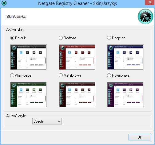 Netgate Registry Cleaner: výběr skinu a jazyka rozhraní
