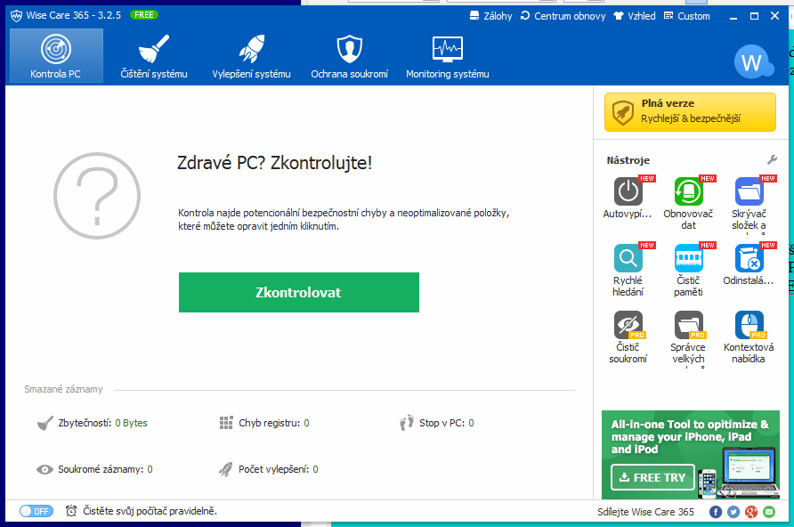 Wise Care 365: výchozí obrazovka a rozhraní komplet v češtině