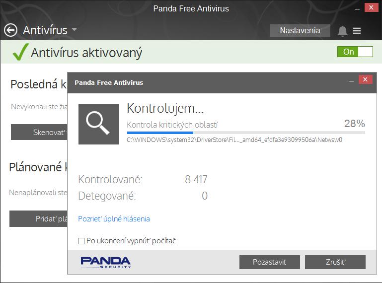 Panda Free Antivirus - jednoduché prostředí modulu Antivir