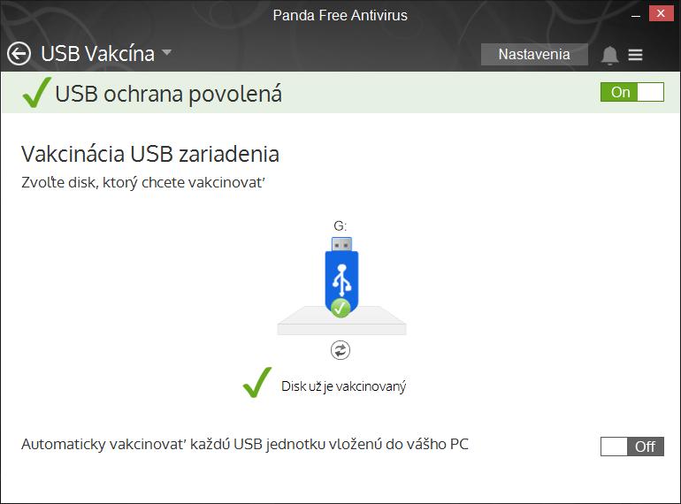 Panda Free Antivirus: kontrola USB