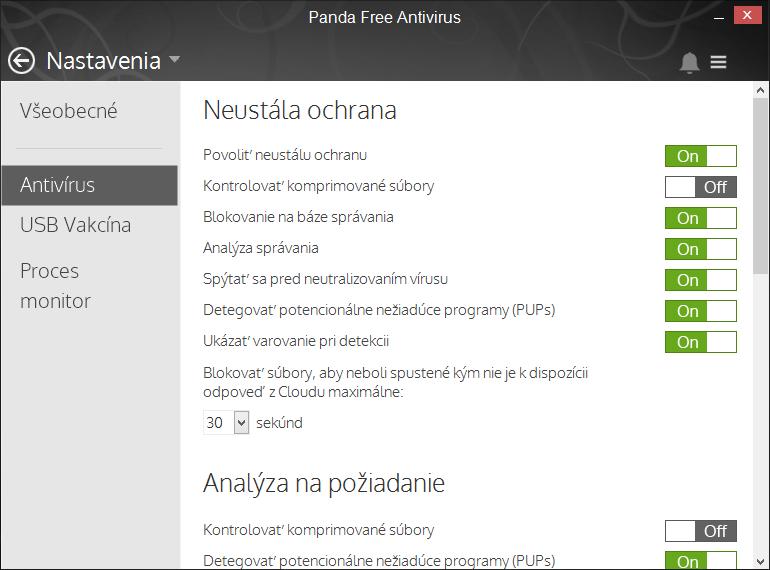Nastavení Panda Free Antivirus