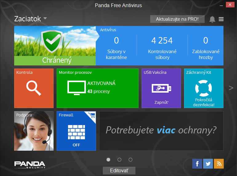 Panda Free Antivirus: flat provedení výchozí obrazovky