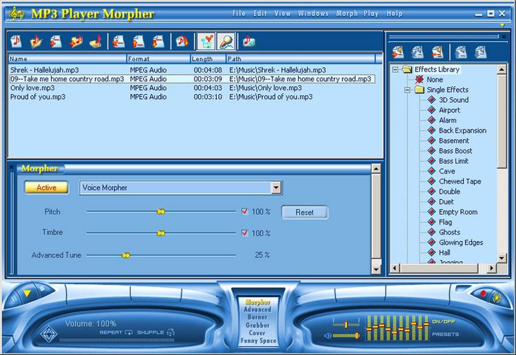 Media Player Morpher - přehrávač se speciálními efekty pro úpravu zvuku