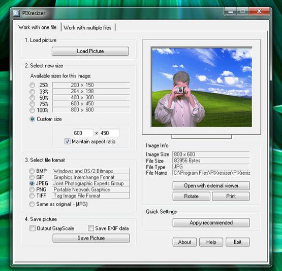 PIXresizer - snadná a rychlá změna velikosti obrázků