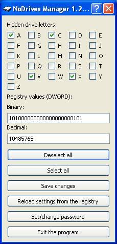NoDrives Manager - bleskové skrývání logických disků