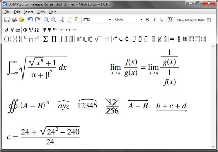 Math Editor - editor složitých matematických rovnic