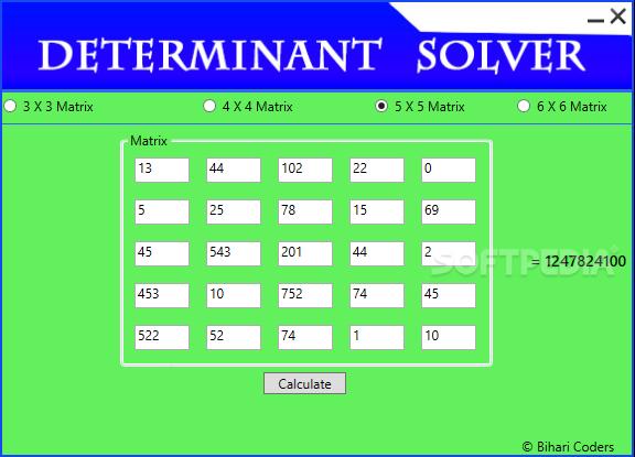 Determinant Solver - výpočet determinant čtvercové matice