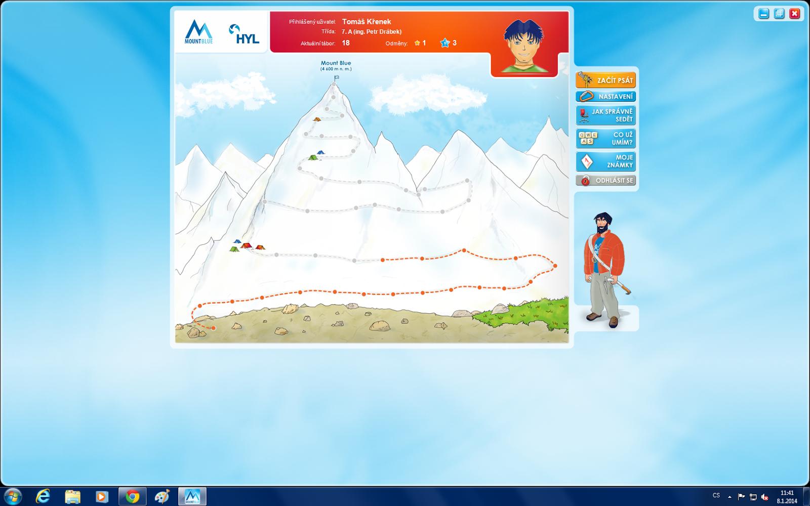 Mount Blue - výuka psaní na počítači