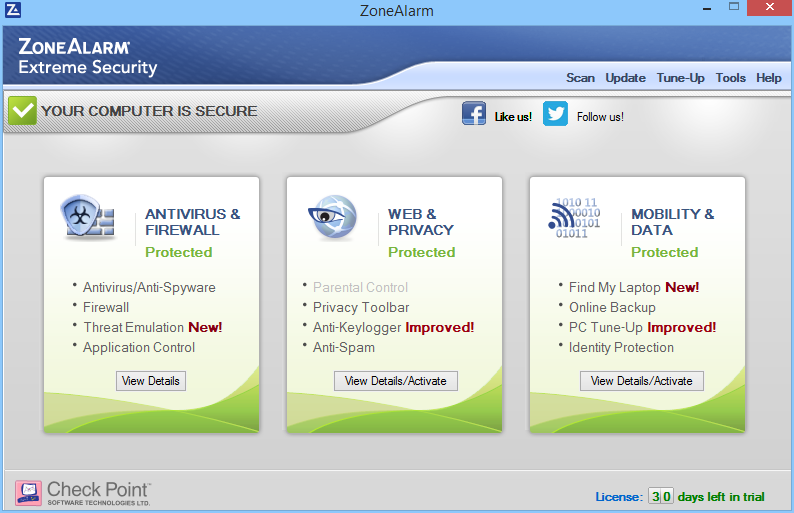 ZoneAlarm Extreme Security: výchozí okno rozhraní