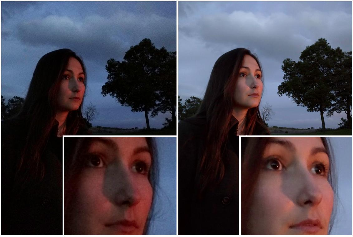 Snímek pořízený za soumraku: díky HDR+ jsou mnohem podrobněji vykresleny vlasy a řasy