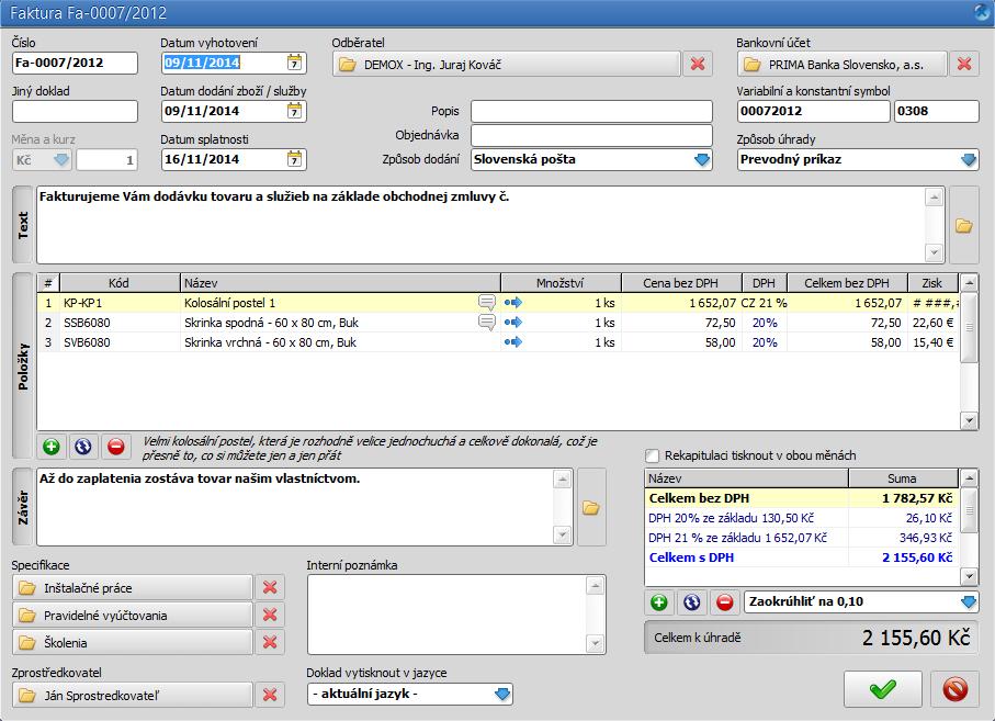 Fakturatik: formulář pro  vystavení nového dokladu - faktury