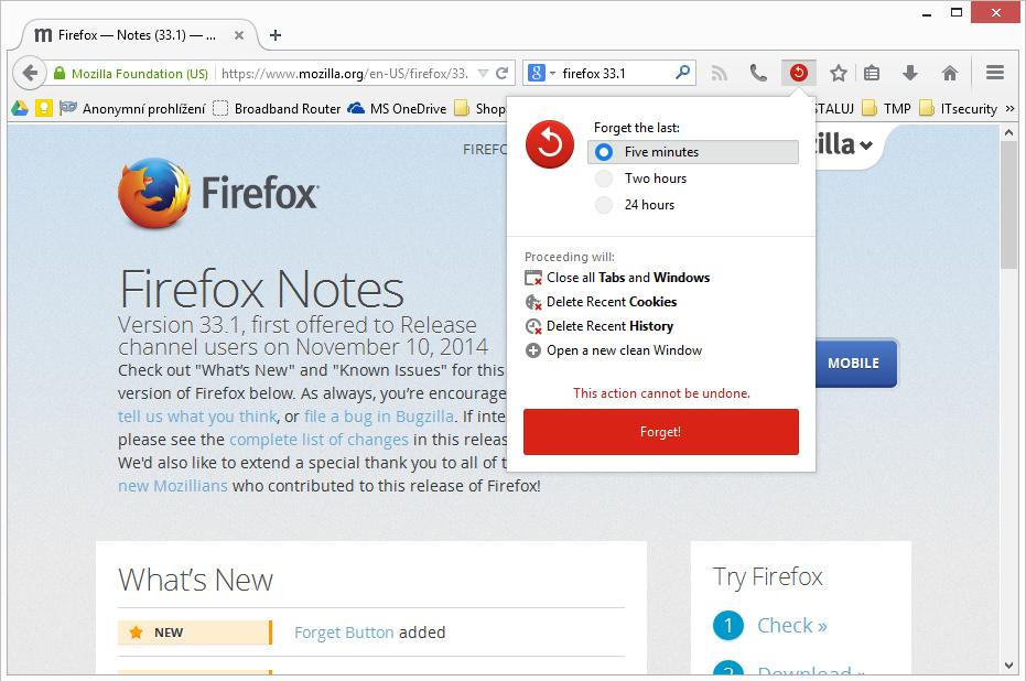 Firefox 33.1: Zapomenout, DuckDuckGo a anonymní prohlížení
