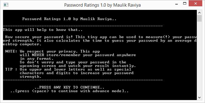 Password Ratings: uvítací poznámky aplikace