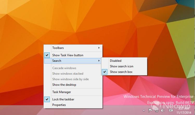 Systémové menu hlavního panelu Win 10 umožňující zobrazování/skrytí vyhledávacího okna