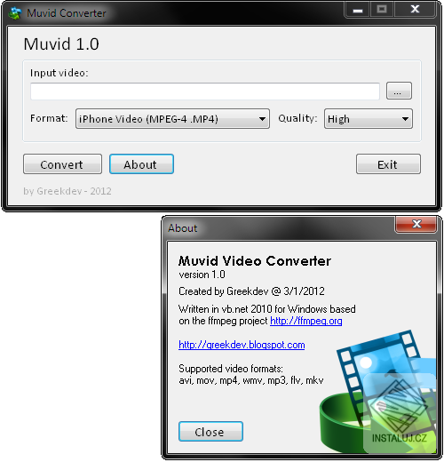 Muvid Video Converter - aplikace pro vzájemnou konverzi video souborů