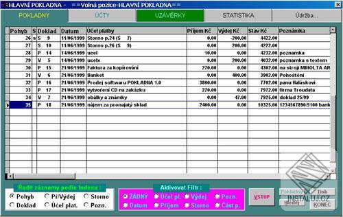 Pokladna - blesková evidence vašich příjmů a výdajů
