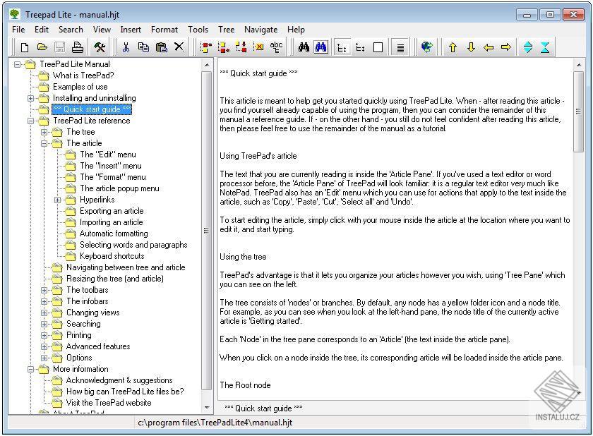 TreePad Lite - informační manažer pro rychlé použití