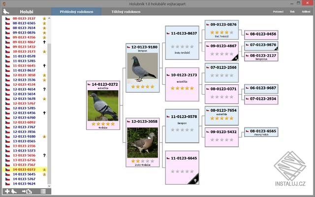 Holubník - evidenční aplikace určená chovatelům holubů