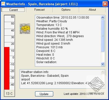 WeatherInfo - předpověď počasí na vašem počítači