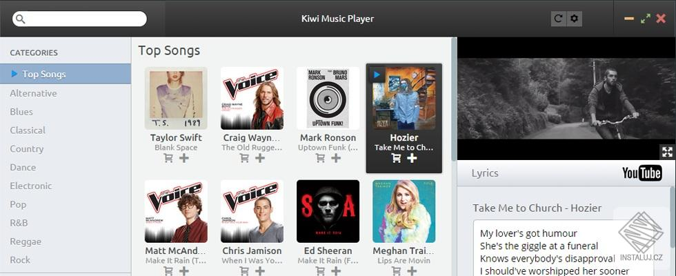 Kiwi Music Player  - hudební přehrávač na pojený na YouTube