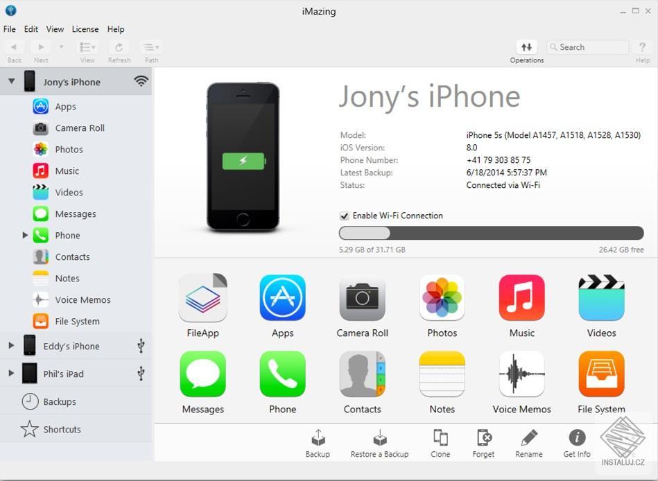 iMazing - přenášení dat mezi iPhone a PC