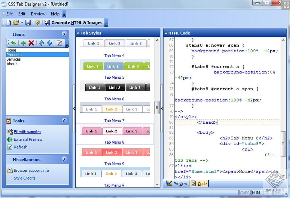 CSS Tab Designer - tvorba líbivého menu do vašich webových stránek