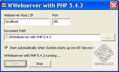 Wwebserver with PHP - zkušební server pro PHP