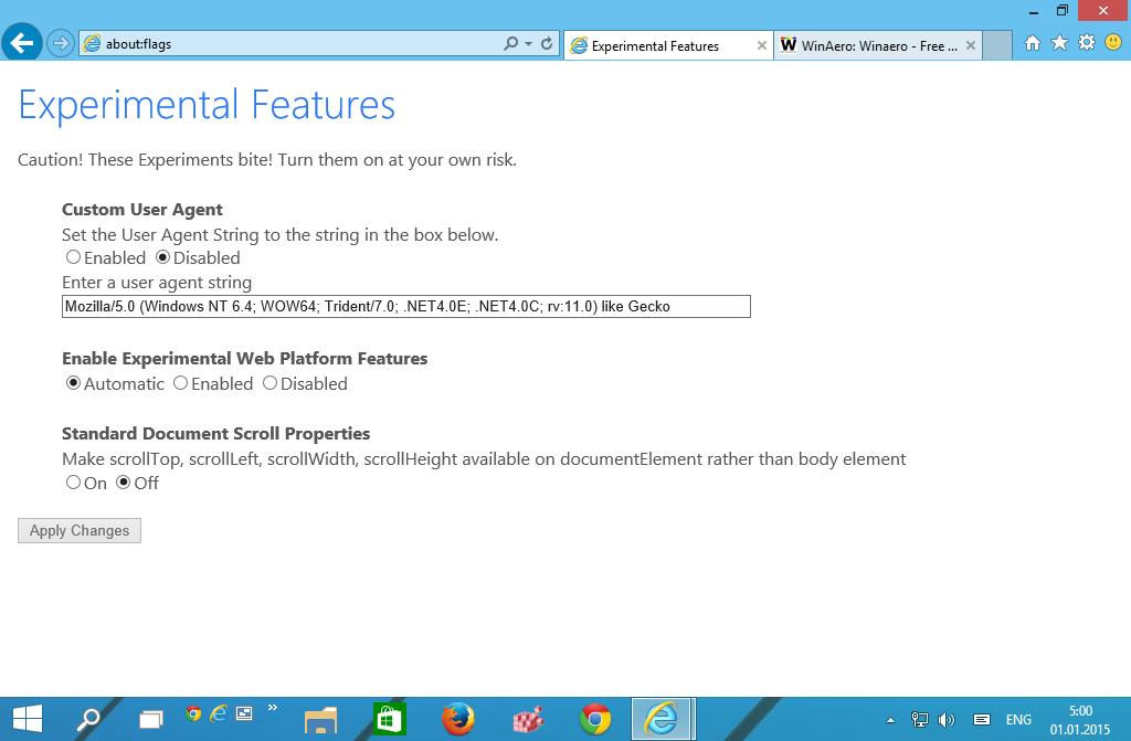 Experimental Features se zpřístupní po zadání příkazu about:flags do adresního řádku IE12