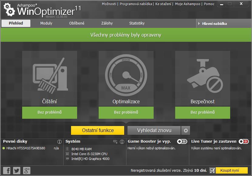 Dokončení čištění a Ostatní funkce WinOptimizeru